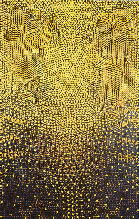 nearlya: Chris Fennell, Manitou, 2009, Acryl auf Leinwand, metallischen Schimmer und Papiercollage