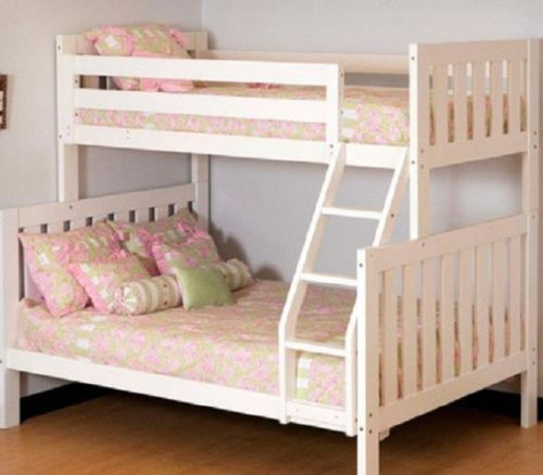 Twin Over Full Bunk Bed Girls Children Kids Guest Bedroom Furniture Sale New | eBay