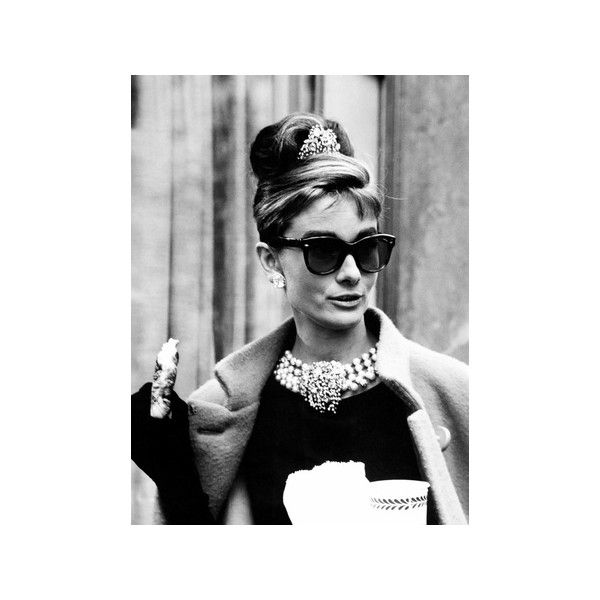 Breakfast at Tiffany's, Audrey Hepburn Eating Between Scenes on Set,... ($27) ❤ liked on Polyvore featuring home, home decor, wall art, photo wall art, audrey hepburn poster, photo poster and audrey hepburn wall art