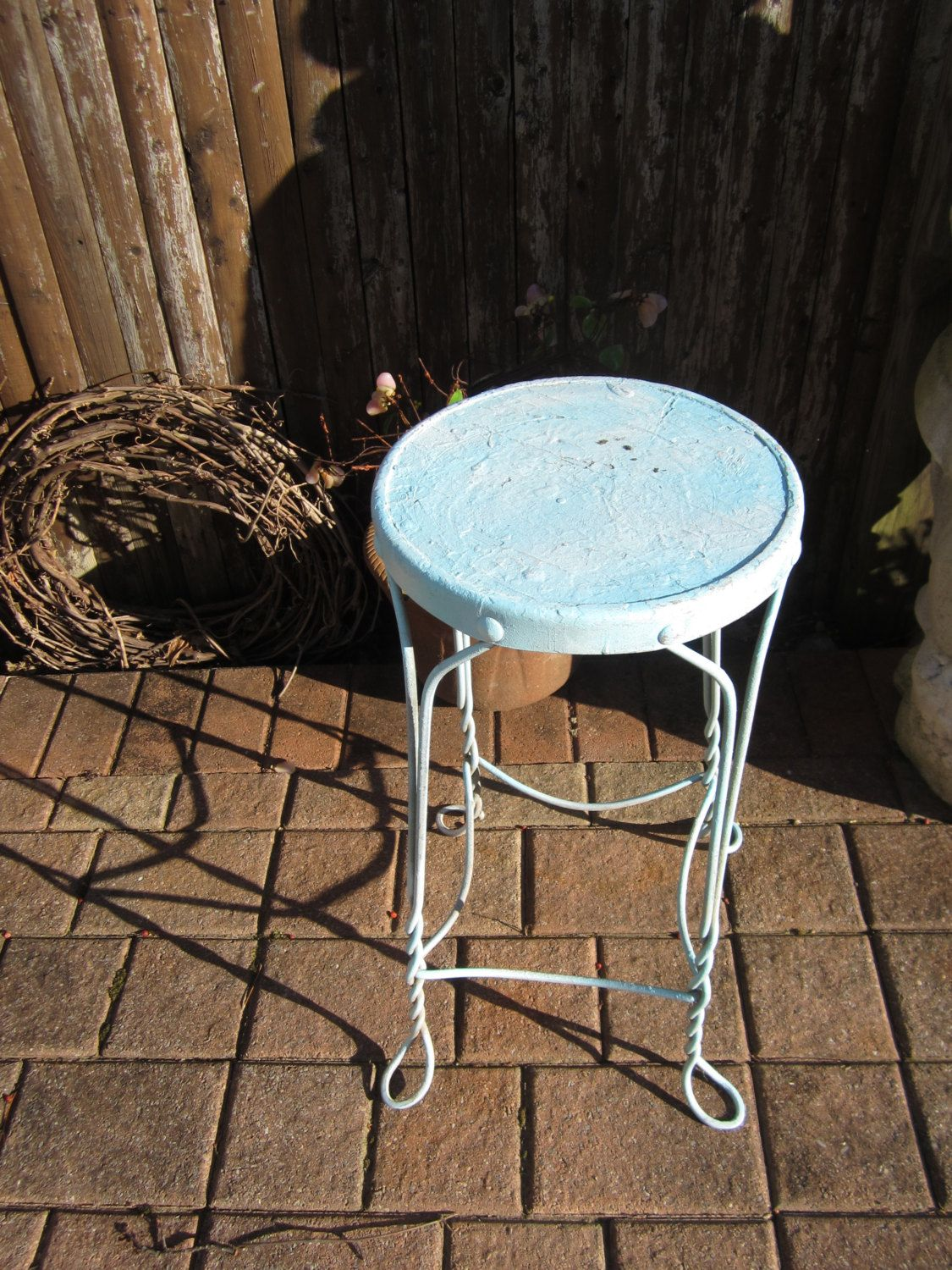 Industrial Chair   Metal Bar Stool, Twisted Legs   Aqua / Turquoise W/ Rust