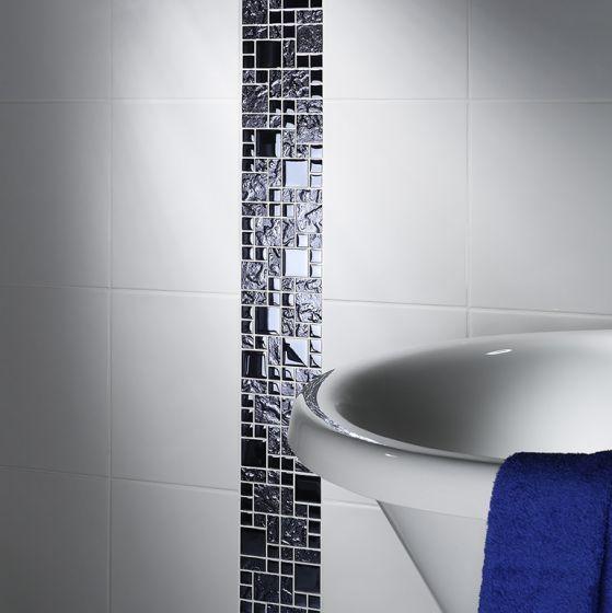 Black Reflective Mix Glass Modular Mosaic Mosaic Glass Bathroom Feature Wall Mosaic