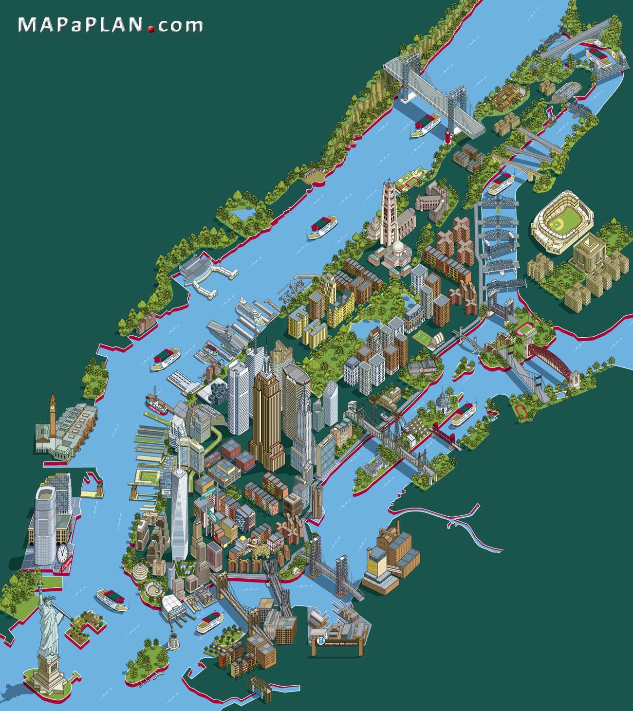 new york top tourist attractions map 21 landmarks