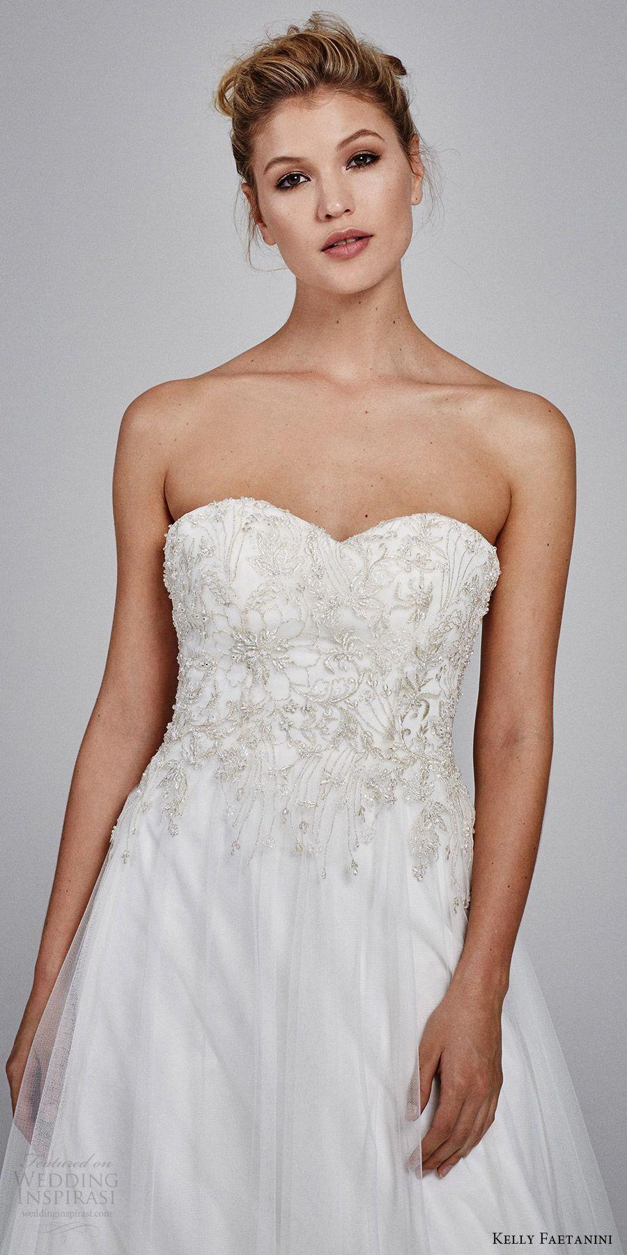 3e799059a kelly faetanini bridal fall 2017 strapless sweetheart tulle embroidery  aline wedding dress (marigold strapless) mv -- Kelly Faetanini Fall 2017  Wedding ...
