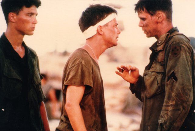 Don Harvey with Michael J. Fox and Jack Gwaltney in Casualties Of War