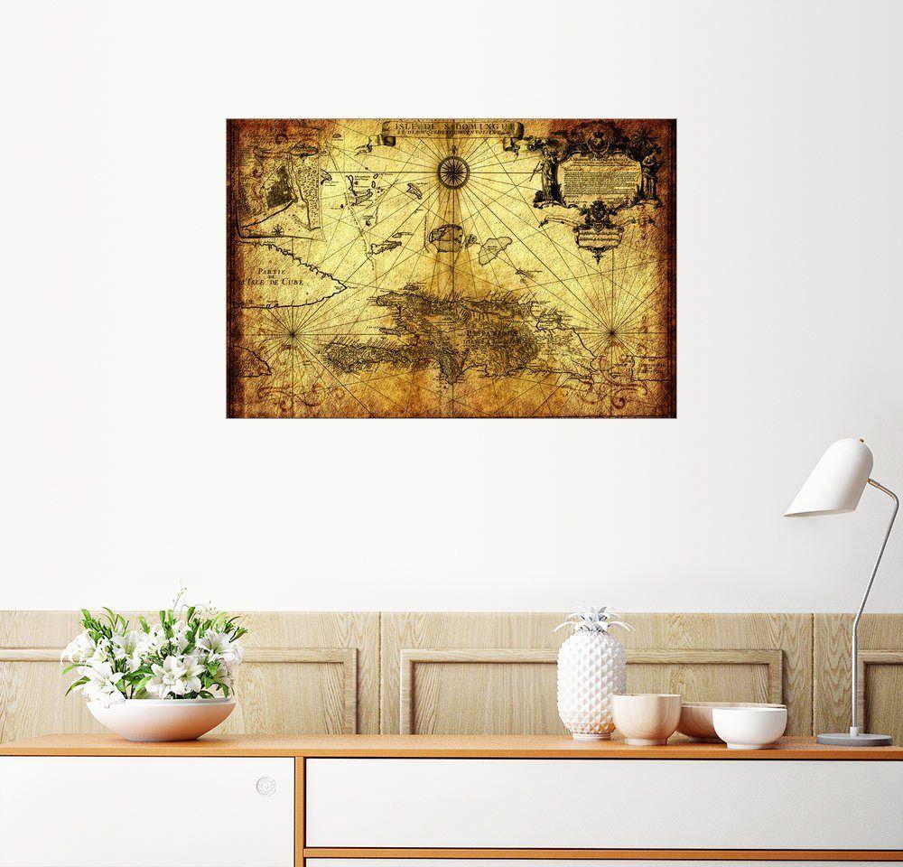 Posterlounge Wandbild - Michaels Antike Weltkarten »Hispaniola 1724 ...