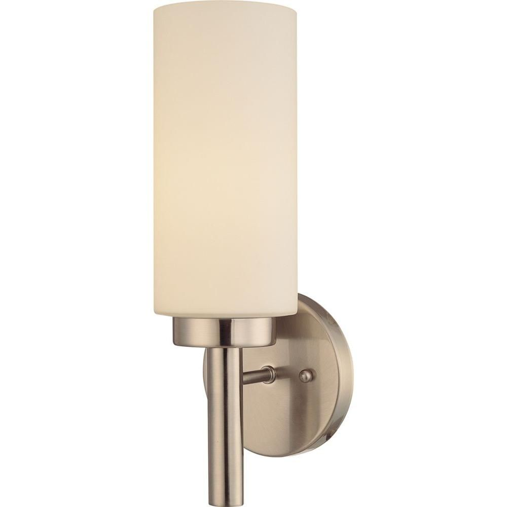 Volume Lighting 1Light Brushed Nickel Interior Wall Sconce Fascinating Home Depot Bathroom Light Fixtures Inspiration Design