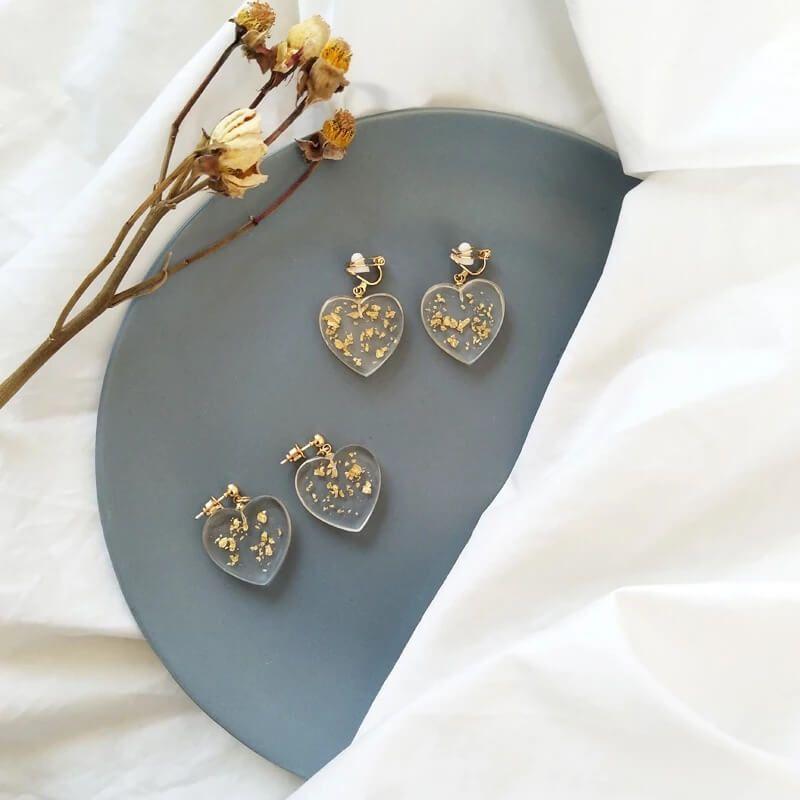 Gold Flower Hoop Earrings Gift for her Handmade Drop and Dangle Earrings Mother/'s Day gift Purple Earrings Resin Jewelry