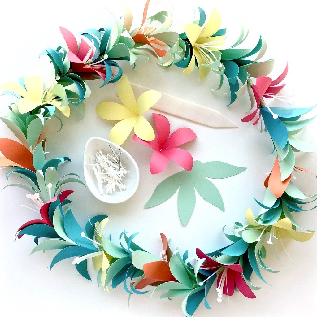 Tropical Flower Garland Lei Templates Svg Dxf Wedding Home