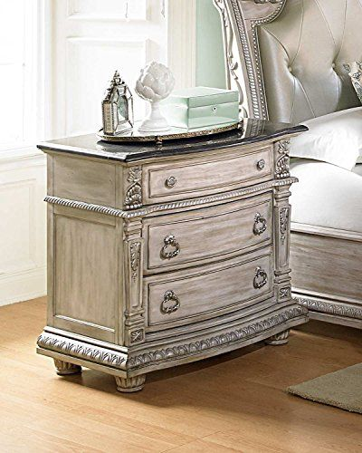 Palace Ii Night Stand With Marble Top In Antique White Wash In 2020 Bedroom Night Stands