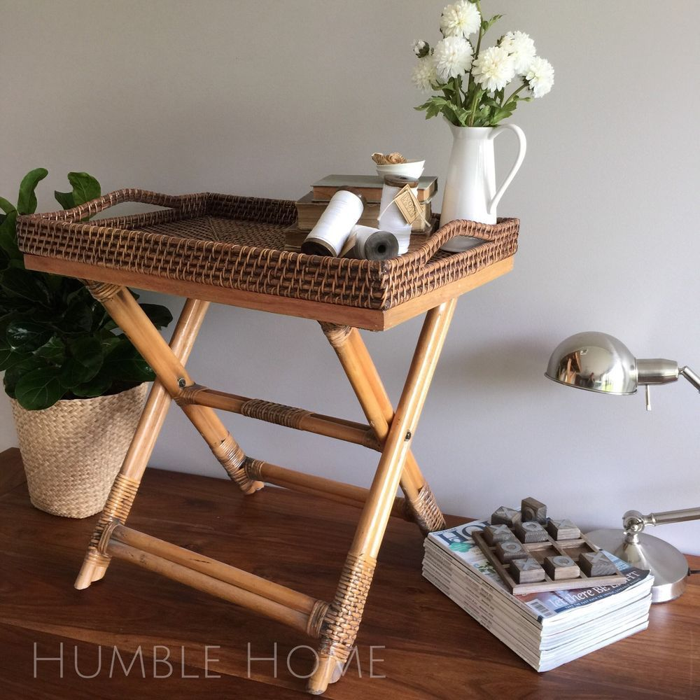 brown rattan side table butlers tray table bedside hamptons french