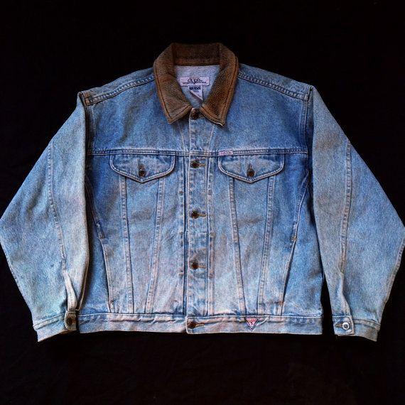 8de220a4c4 Vintage Guess Jean Jacket 90s 80s Size L Rare by REVERZESTORE
