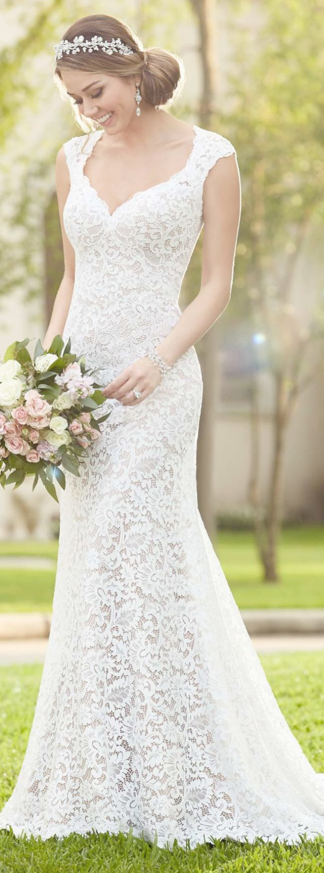 Lace wedding dress designers  Sheer Lace A Line Wedding Dress Sweetheart Lace Wedding Dress