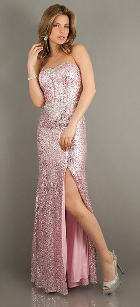 bf7079dd Sparkly Sequins Pink Prom Dress Long Front Slit Strapless | Prom