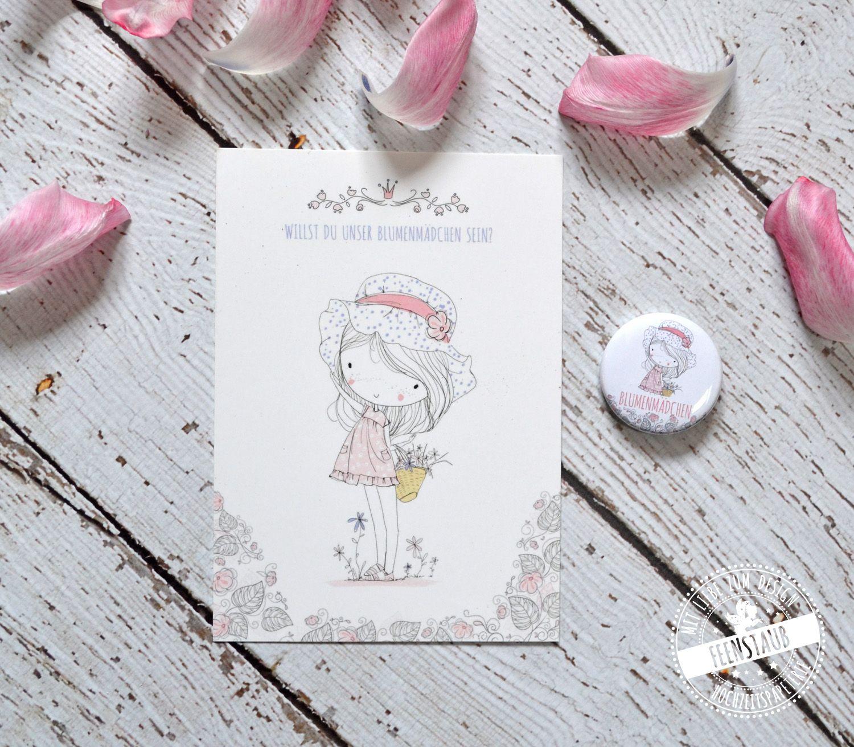 Blumenmdchen Karte Geschenk  Hochzeit  Willst du meine