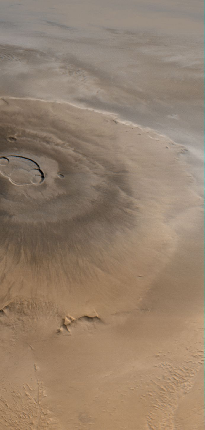 At three times the height of Mt. Everest, Olympus Mons on Mars in the largest volcano in the solar system.