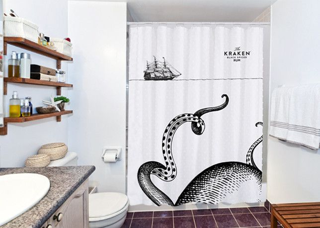 Make Every Morning An Epic Battle For Survival With The Kraken Shower Curtain This Standard Size Is Machine Washable And Features