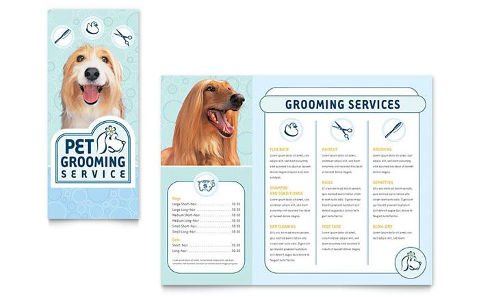 Pet Grooming Service Brochure Design Template By Stocklayouts