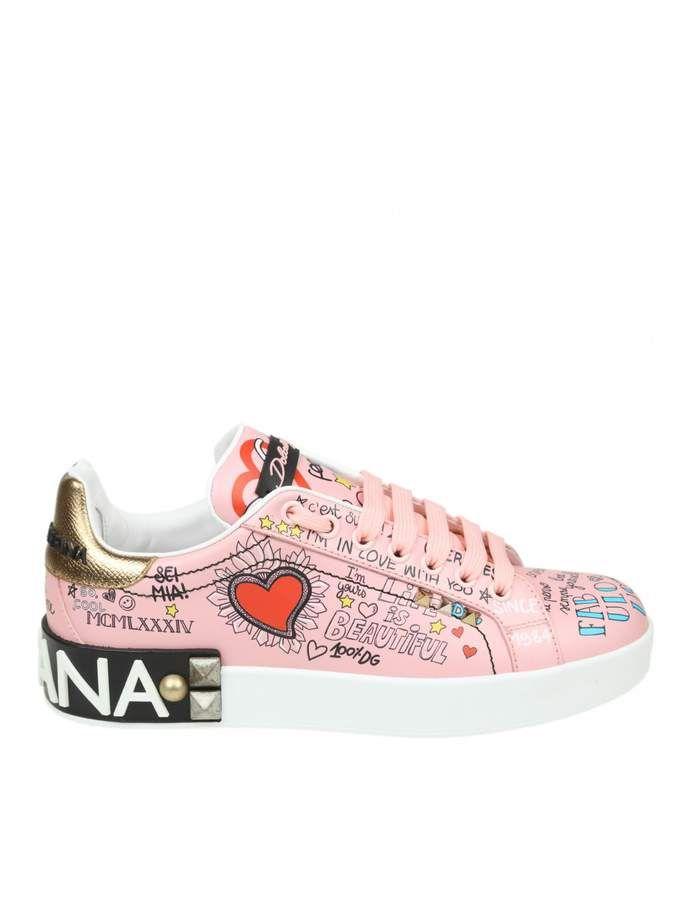 66f3b9867227 Dolce   Gabbana Portofino Sneakers In Printed Calf Color Pink ...