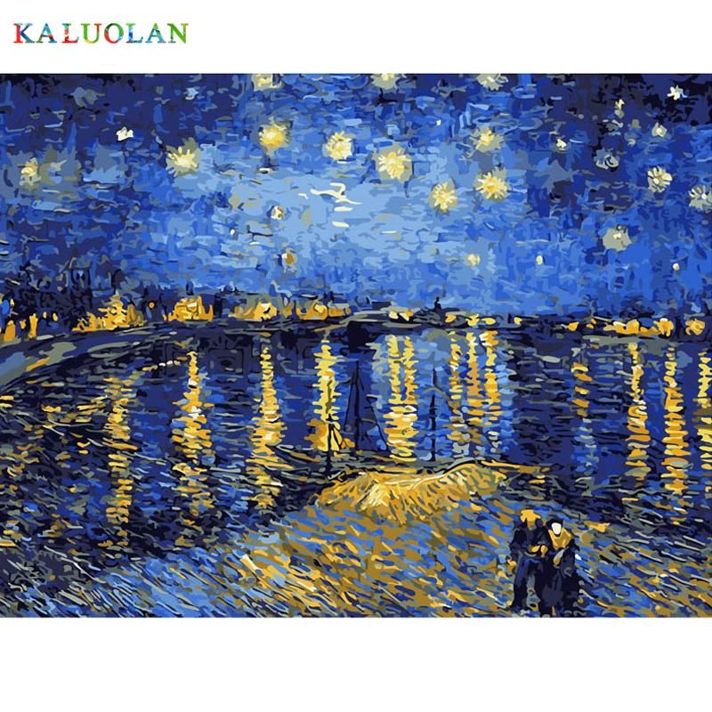 Best Pictures Diy Digital Oil Painting Paint By Numbers Christmas Birthday Unique Gift Van Go Starry Night Van Gogh Modern Wall Art Canvas Landscape Paintings