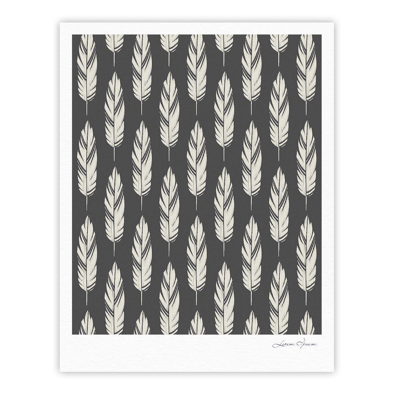 "Amanda Lane ""Feathers Black Cream"" Dark Pattern Fine Art Gallery Print"