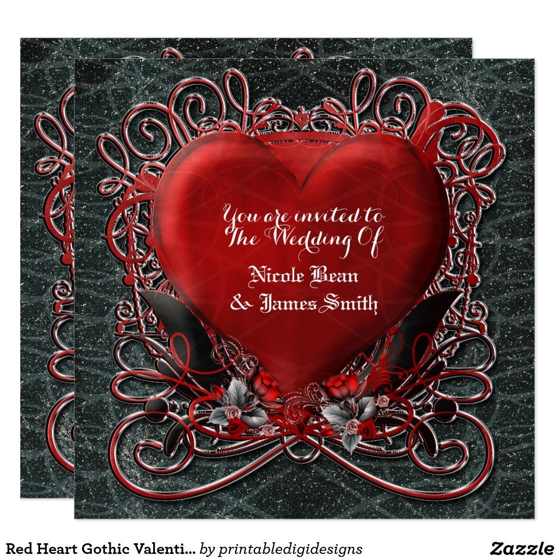 Red Heart Gothic Valentine Wedding Invitations | Gothic Romance ...