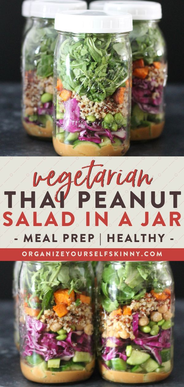 Thai Peanut Salad in a Jar (Vegetarian Meal Prep) | Meal Prep for Beginners -   19 meal prep recipes vegetarian freezer ideas