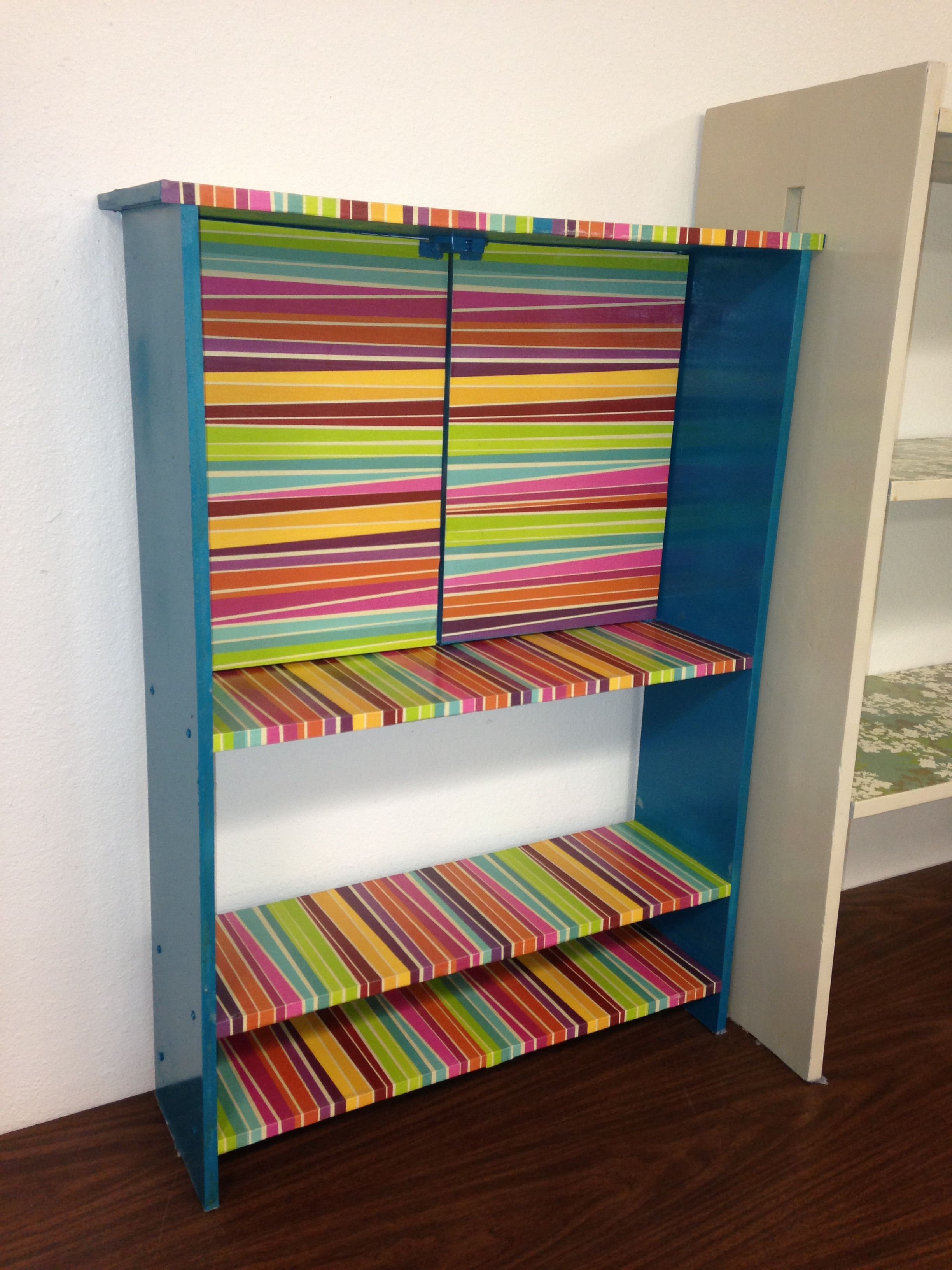 Decoupaged Classroom Bookshelf I Just Used Spray Paint And Scrapbook Paper Found A Cheap Bookcase At Thrift Store