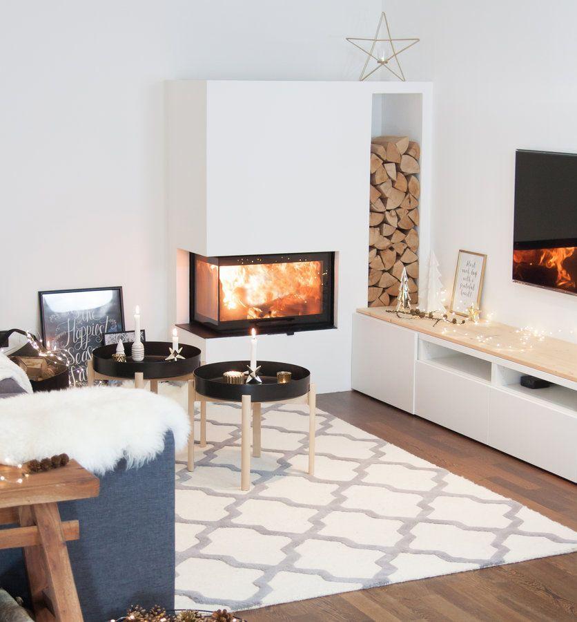 Kaminzauber oder? Winterliche Wohnideen Pinterest Interiors - wohnzimmer schwarz weiss holz