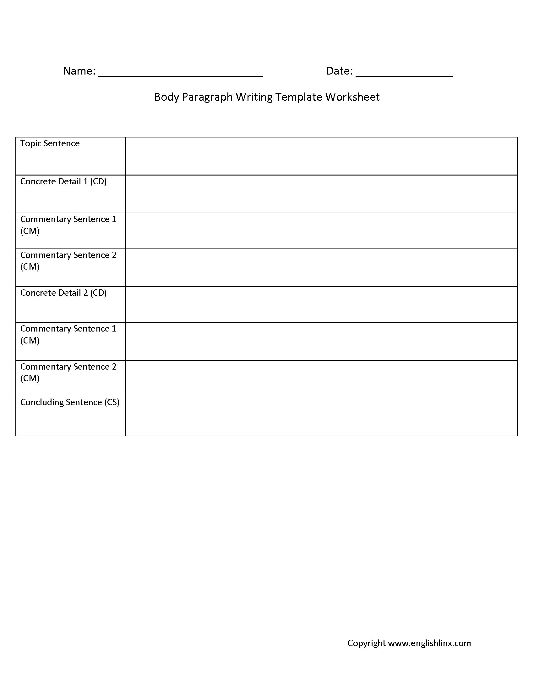 Body Paragraph Writing Template Worksheet