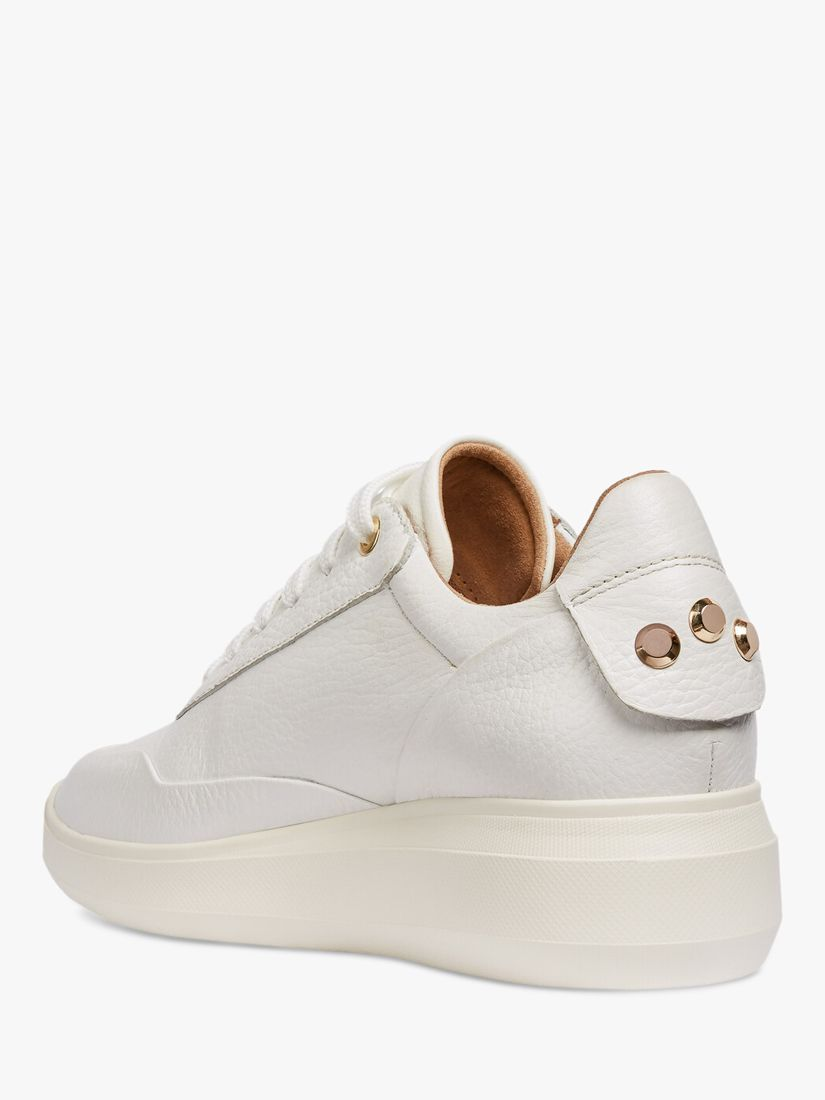 Geox Women's Rubidia Perforated Leather Wedge Trainers in