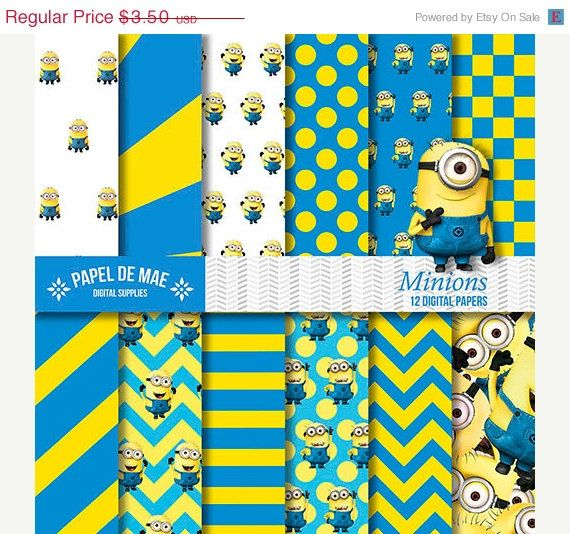 Sale Despicable Me Digital Paper Minion Birthday Party Instant