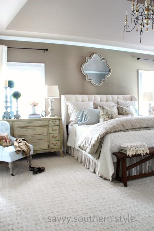 Neutral Cozy Master Farmhouse Style Bedroom Decor
