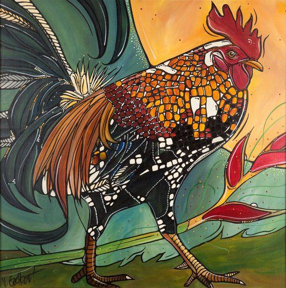 rooster bird art chicken rooster print original rooster art 8x8