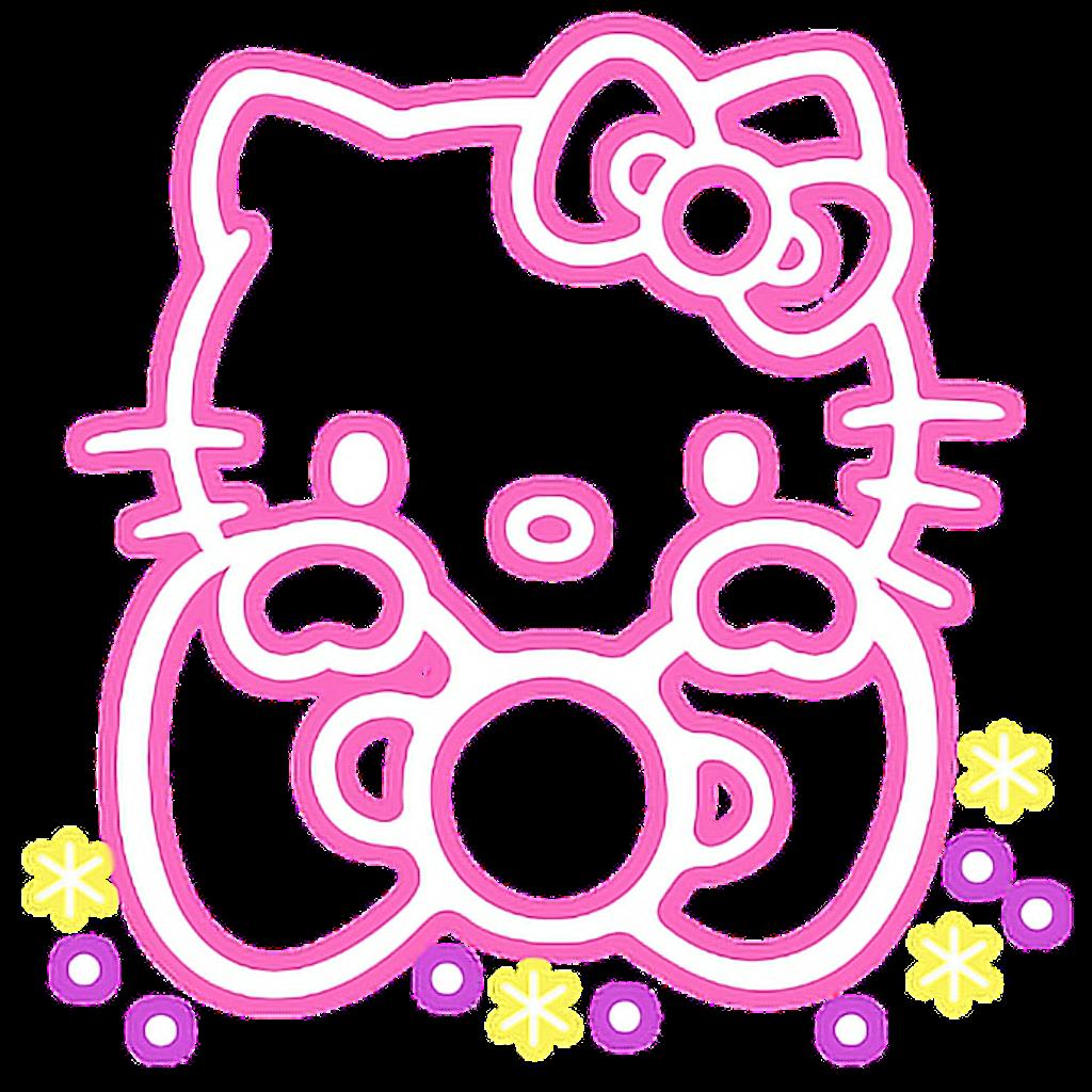 Hellokitty Neon Cute Pink Ribbon Colorful Star Luminous Pink Ribbon Hello Kitty Image Stickers