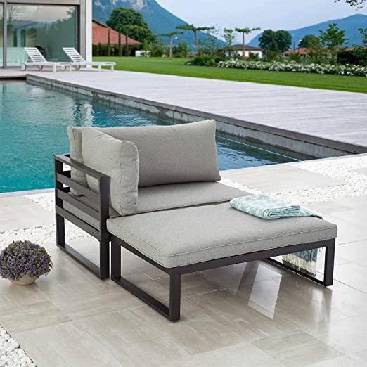 Amazon Com Lokatse Home 2 Pieces Outdoor Sectional Furniture Patio Conversation Set Outdoor Sectional Furniture Corner Sofa With Cushions Sectional Furniture