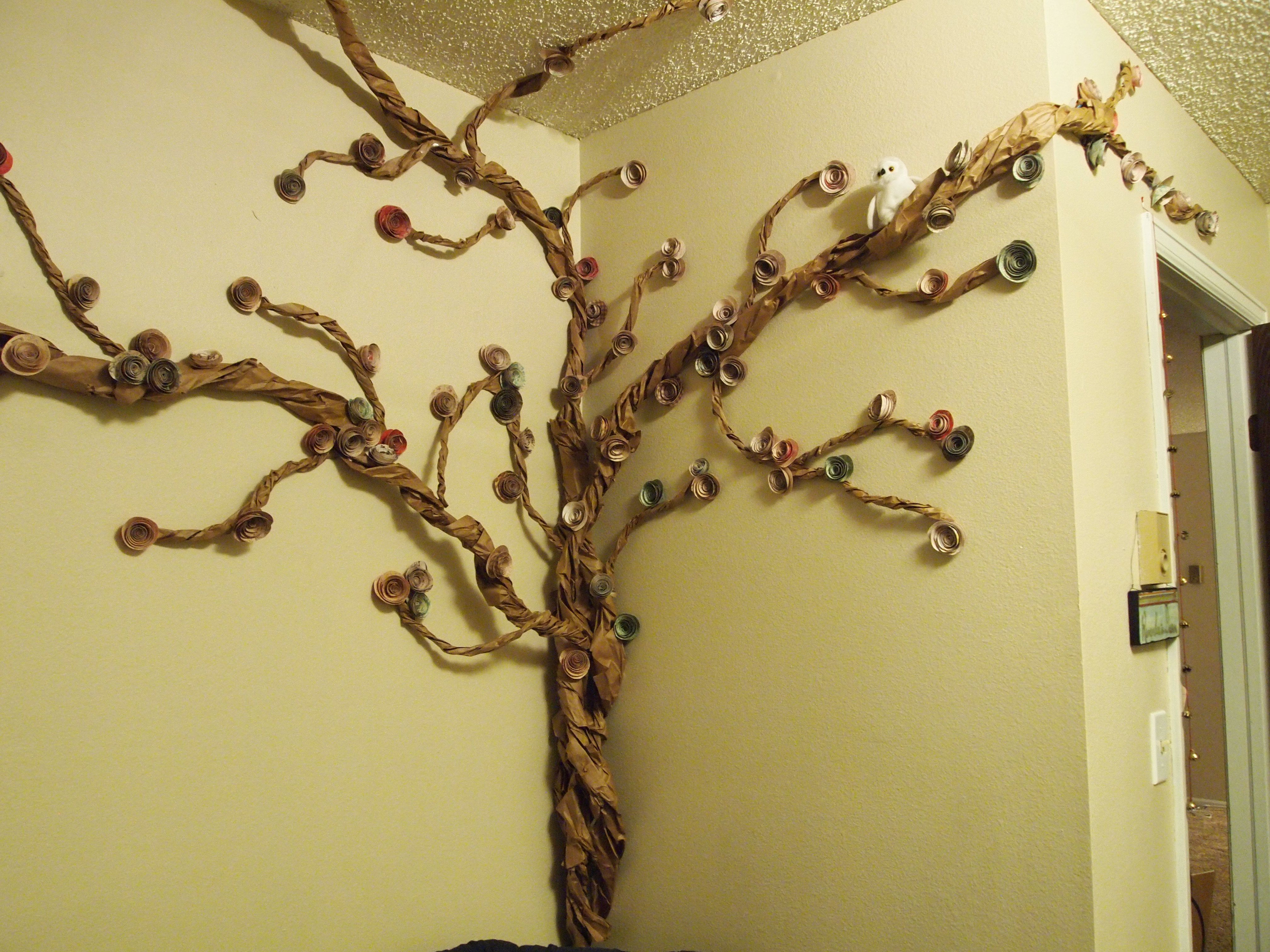 Tree Mural In My Bedroom Made Out Of Paper Brown Grocery Bags Glue And Tape Tissue Paper Flowers Paper Tree Tree Mural