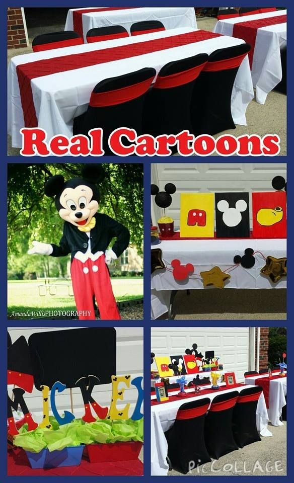 Minnie and Mickey décor to make party complete.  Check out Real Cartoons !! realcartoonstn.com Smyrna tn 37176