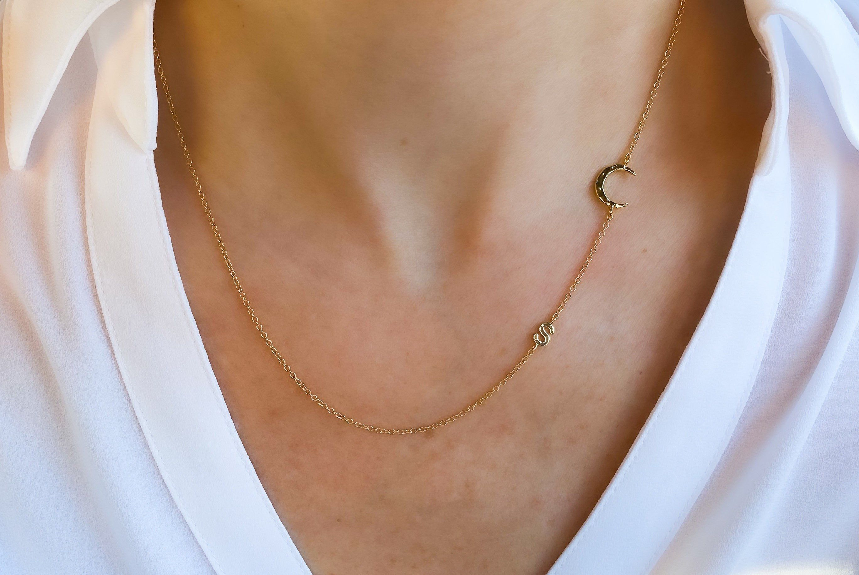 Photo of Initial with crescent moon necklace