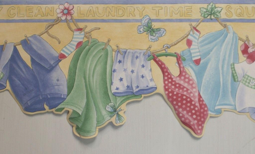 better homes and gardens border paper country LAUNDRY ROOM