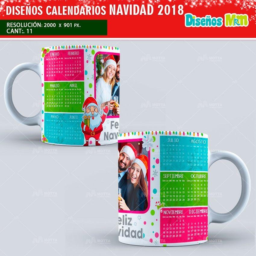 PLANTILLAS TAZA CALENDARIOS NAVIDAD 2018 | Calendario navidad ...