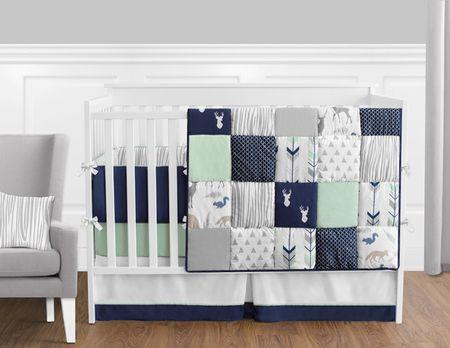 Woodsy Navy Mint And Grey Crib Bedding, Woodsy Crib Bedding