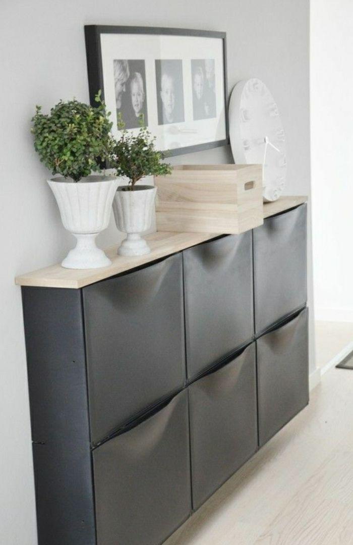 meuble chaussure ikea de couleur gris pour bien ranger le couloir