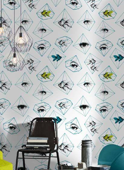 Tapete Fish Eye von MINDTHEGAP-3205 - retro tapete wohnzimmer