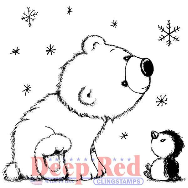 Deep Red Cling Stamp Polar Friends Stamp Holiday Stamping Unique Stamps