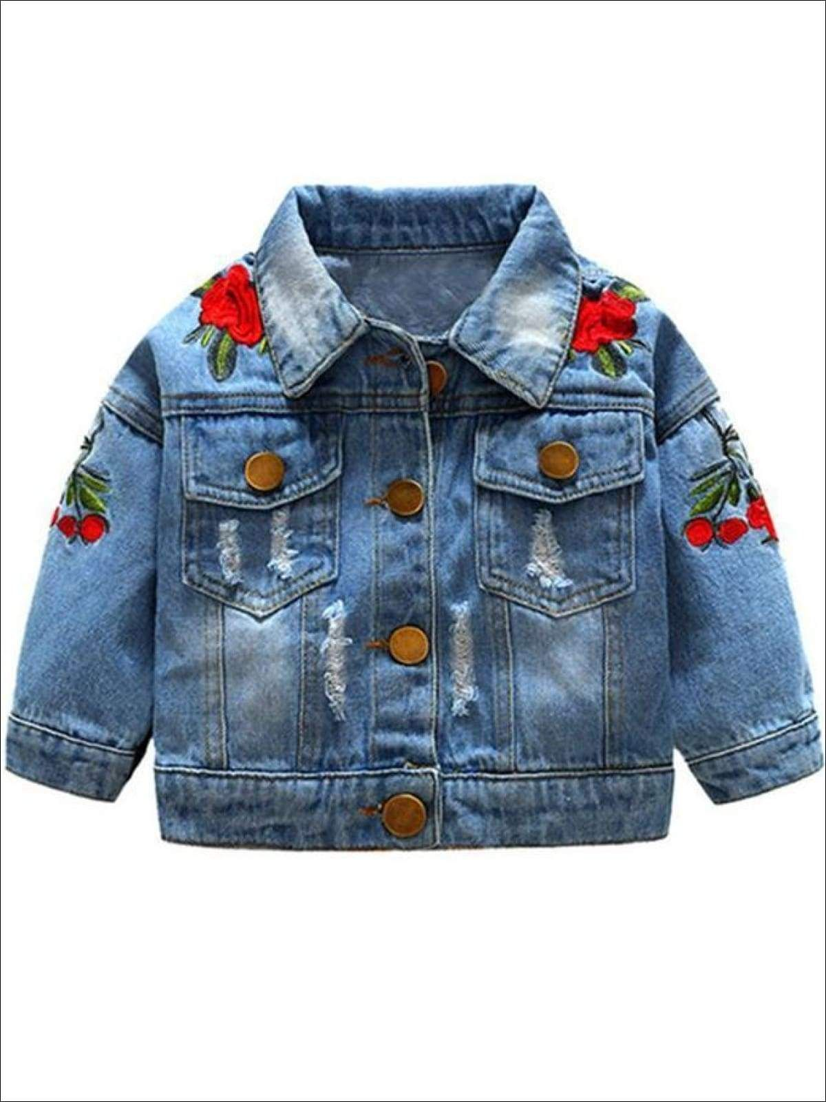 Girls Distressed Denim Jacket With Rose Embroidery In 2020 Girls Denim Jacket Baby Denim Jacket Vintage Denim Jacket [ 1600 x 1200 Pixel ]