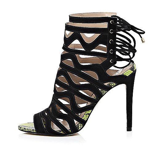chaussures talons aiguilles en cuir noir lacets effet. Black Bedroom Furniture Sets. Home Design Ideas