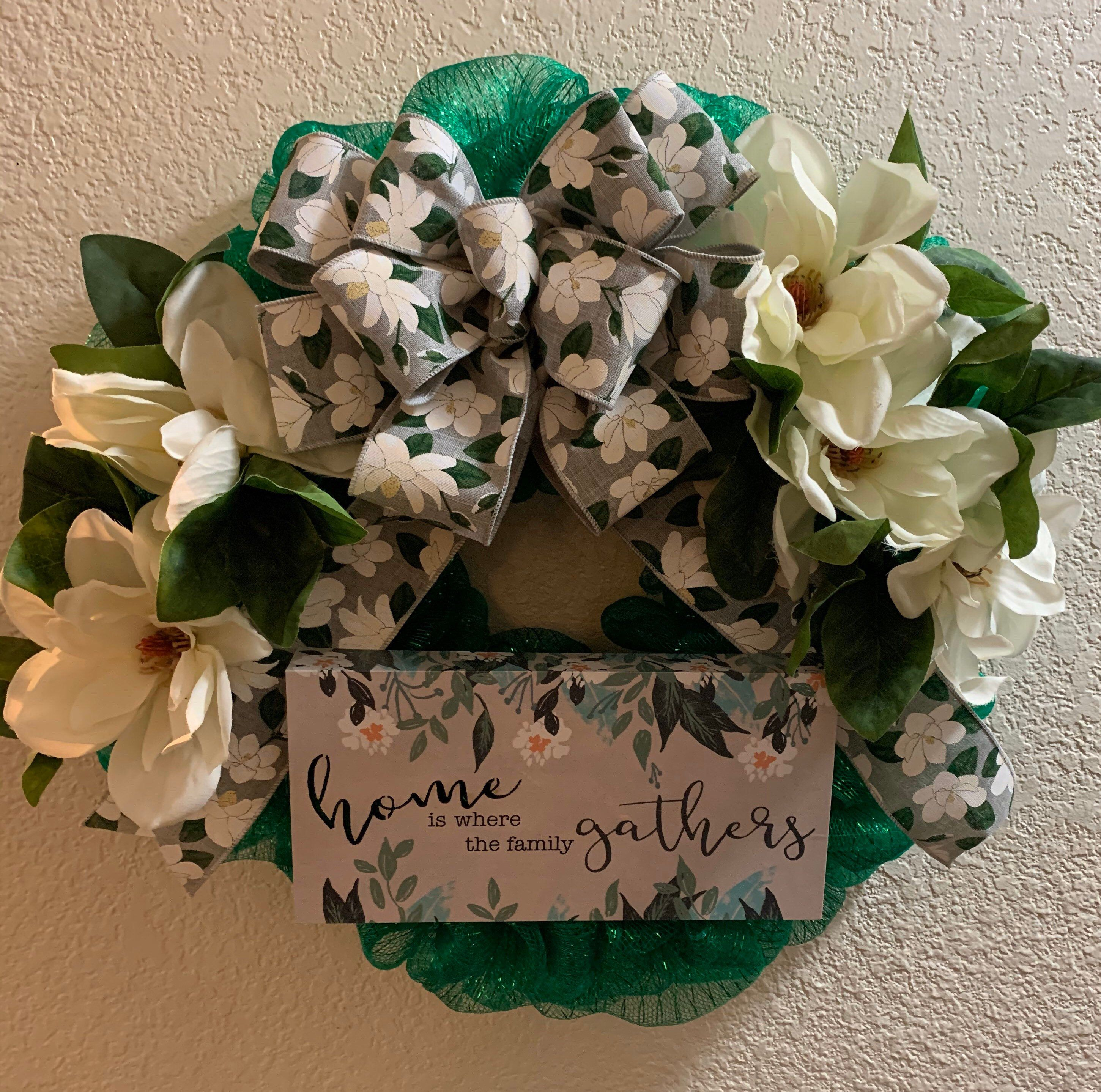Photo of Magnolia wreath. Front door decor. Home decor. Magnolia leaves. Spring summer wreath. Welcome wreath. Home and family.