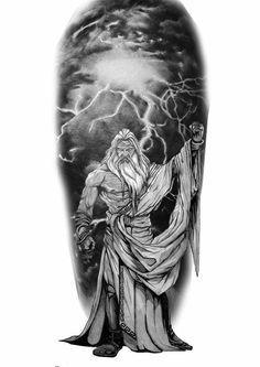 Poseidon Deuses Gregos Preto E Cinza Tatuagem 1