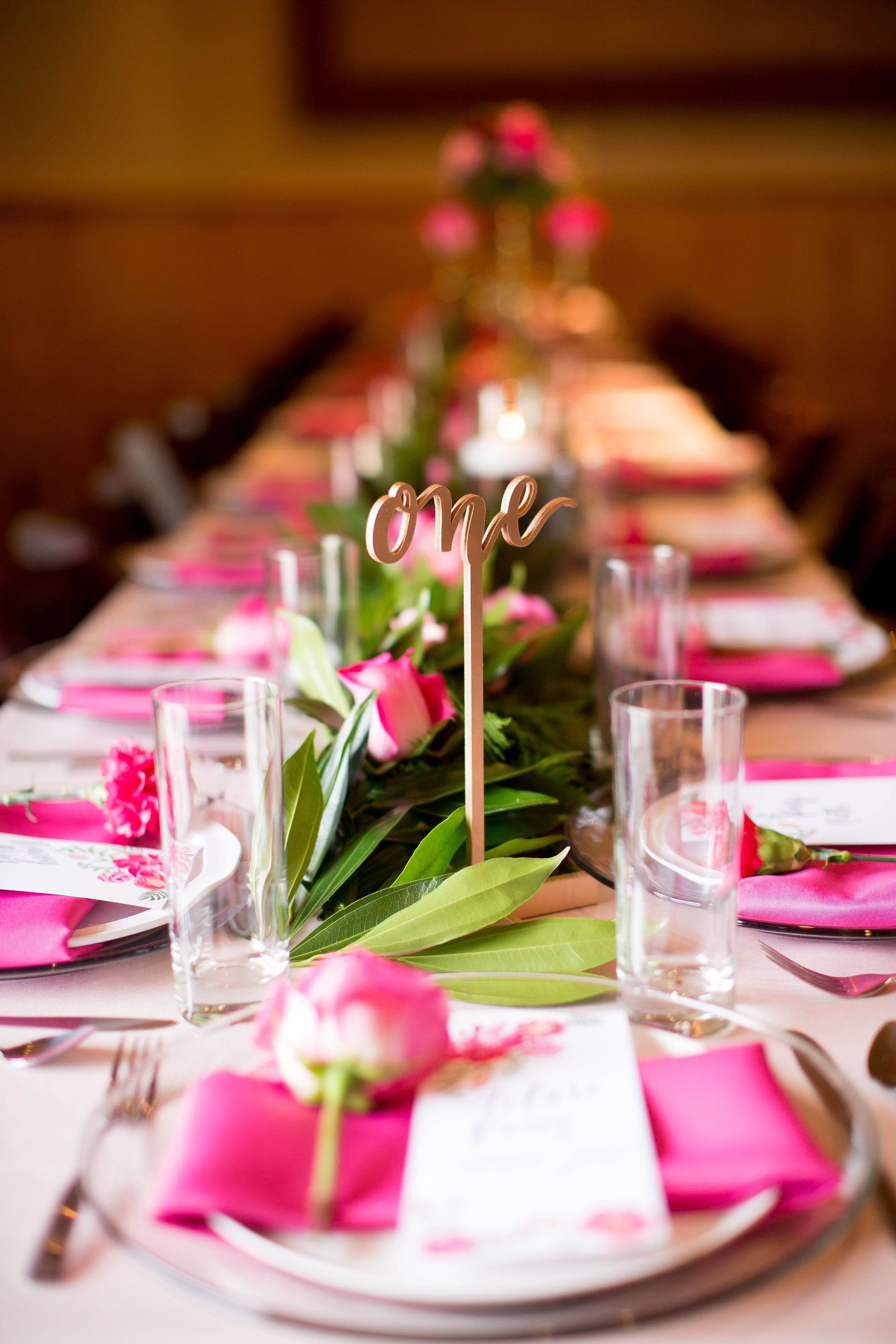 Pink Tablescape, Garland Tablescape, Hot Pink Roses, Table Numbers, Gold Pink Green Wedding