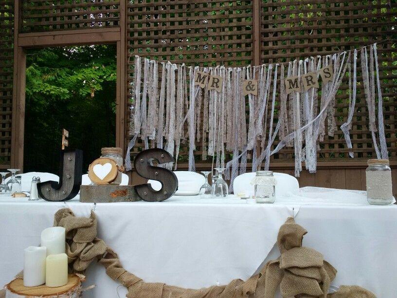 Sherri + Joe's head table. All decor was DIY by the bride